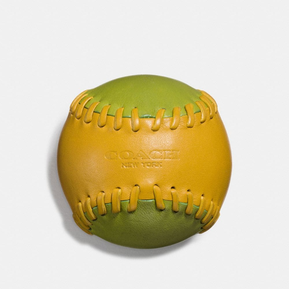 LEATHER BASEBALL PAPERWEIGHT IN GLOVETANNED LEATHER