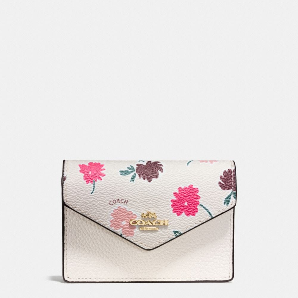 ENVELOPE CARD CASE IN DAISY FIELD PRINT COATED CANVAS