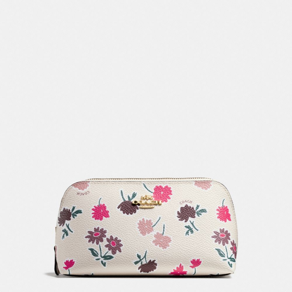 COSMETIC CASE 17 IN DAISY FIELD PRINT COATED CANVAS