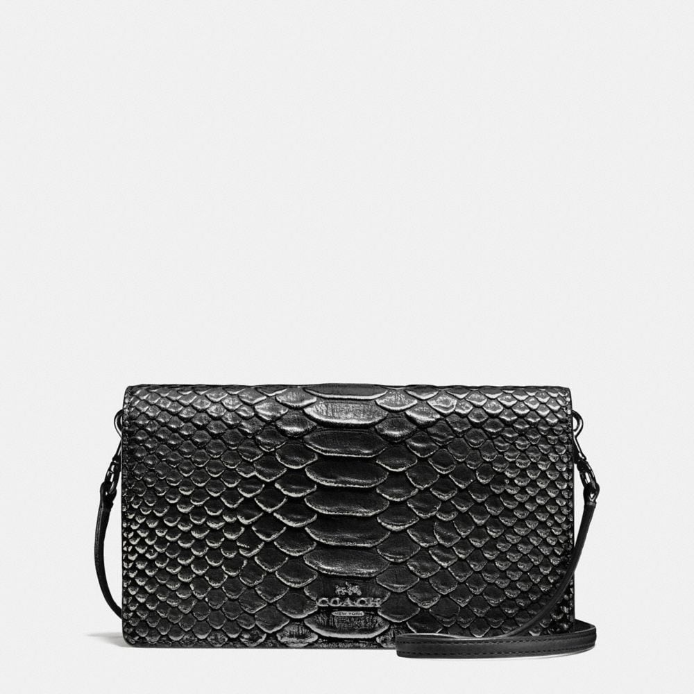 FOLDOVER CROSSBODY IN EXOTIC EMBOSSED LEATHER