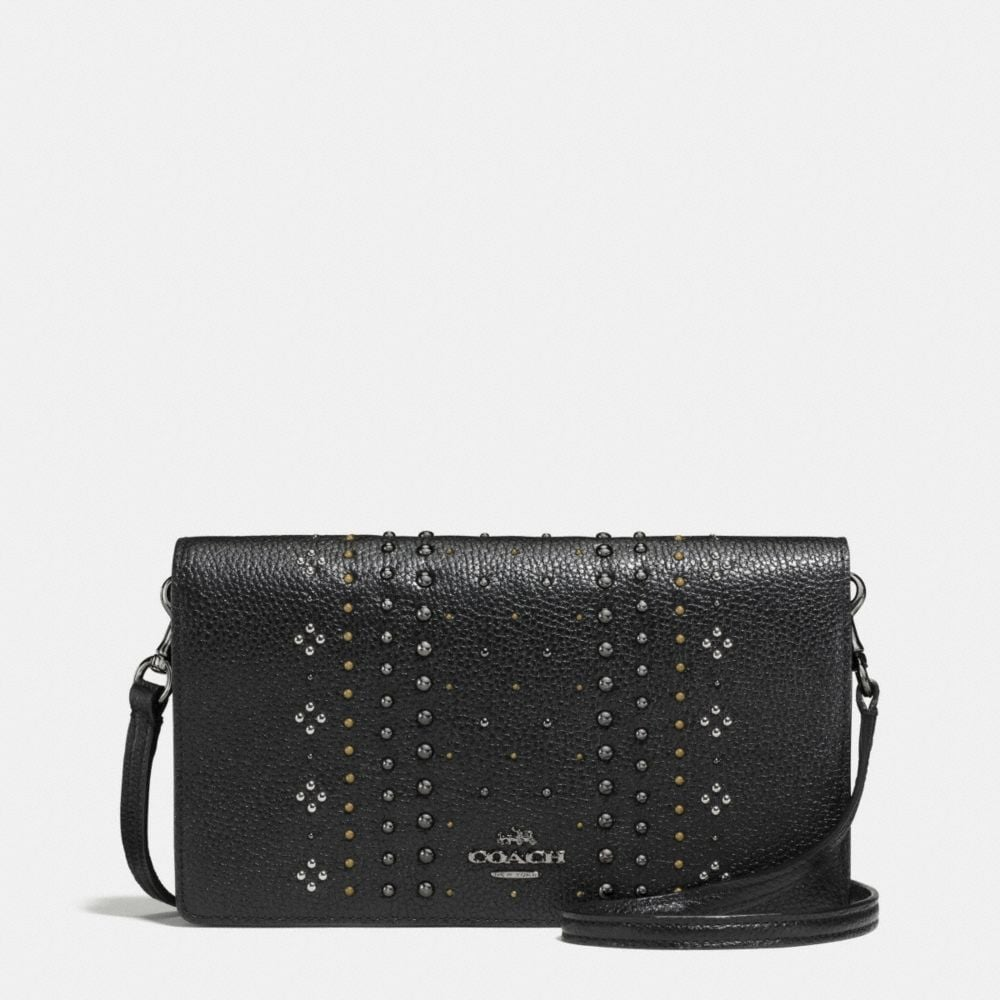 FOLDOVER CROSSBODY WITH BANDANA RIVETS