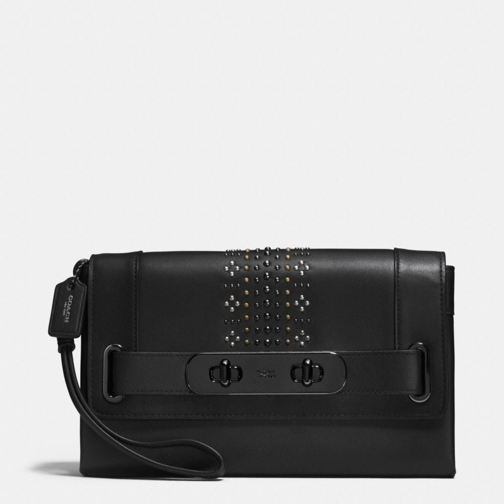 COACH SWAGGER CLUTCH WITH BANDANA RIVETS
