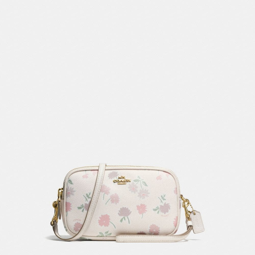 CROSSBODY CLUTCH IN DAISY FIELD PRINT PEBBLE LEATHER
