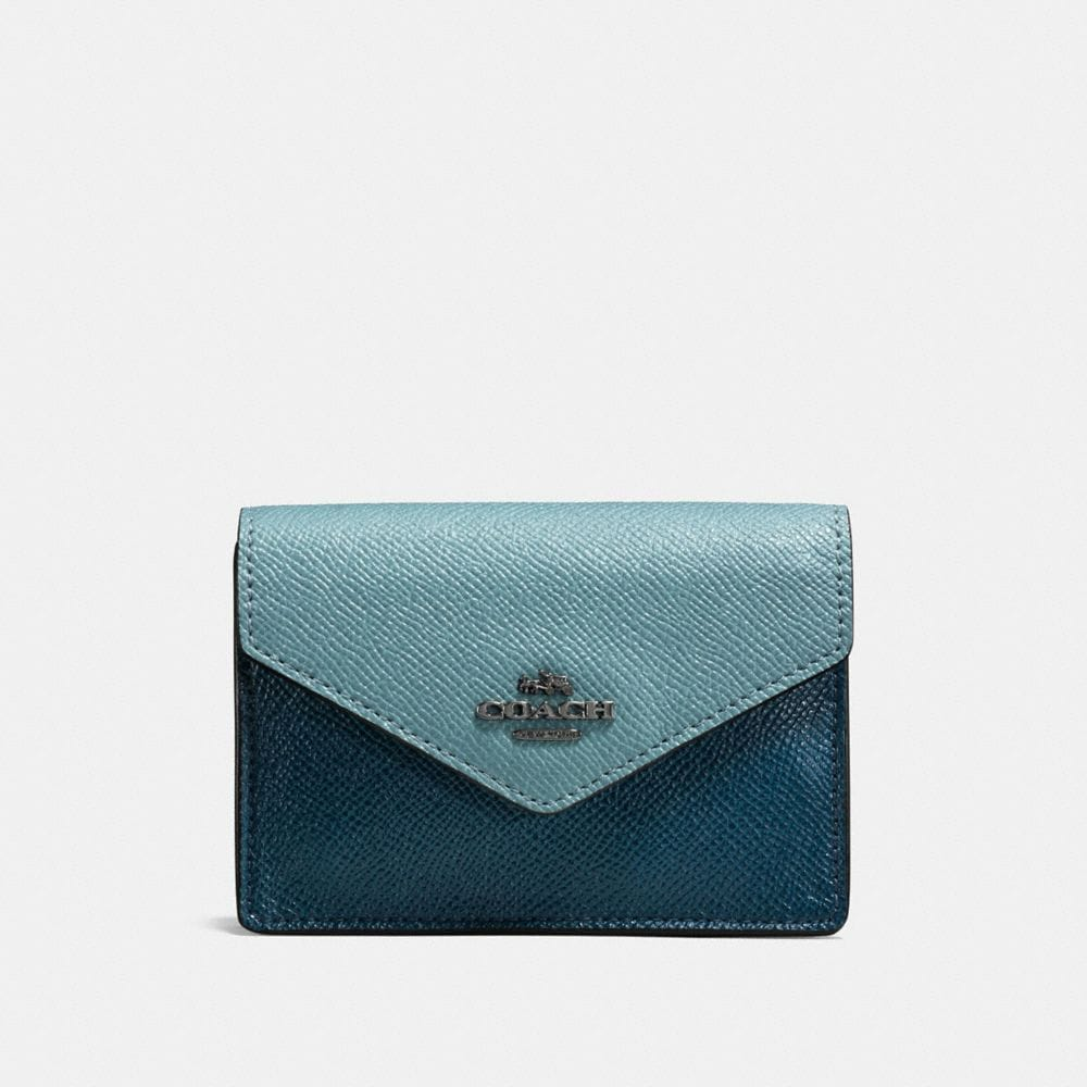 ENVELOPE CARD CASE IN COLORBLOCK CROSSGRAIN LEATHER