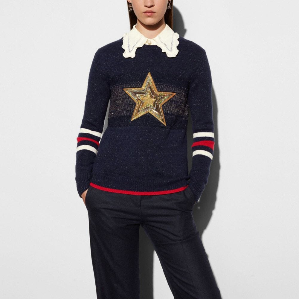 WOOL GLITTER STAR CREWNECK SWEATER