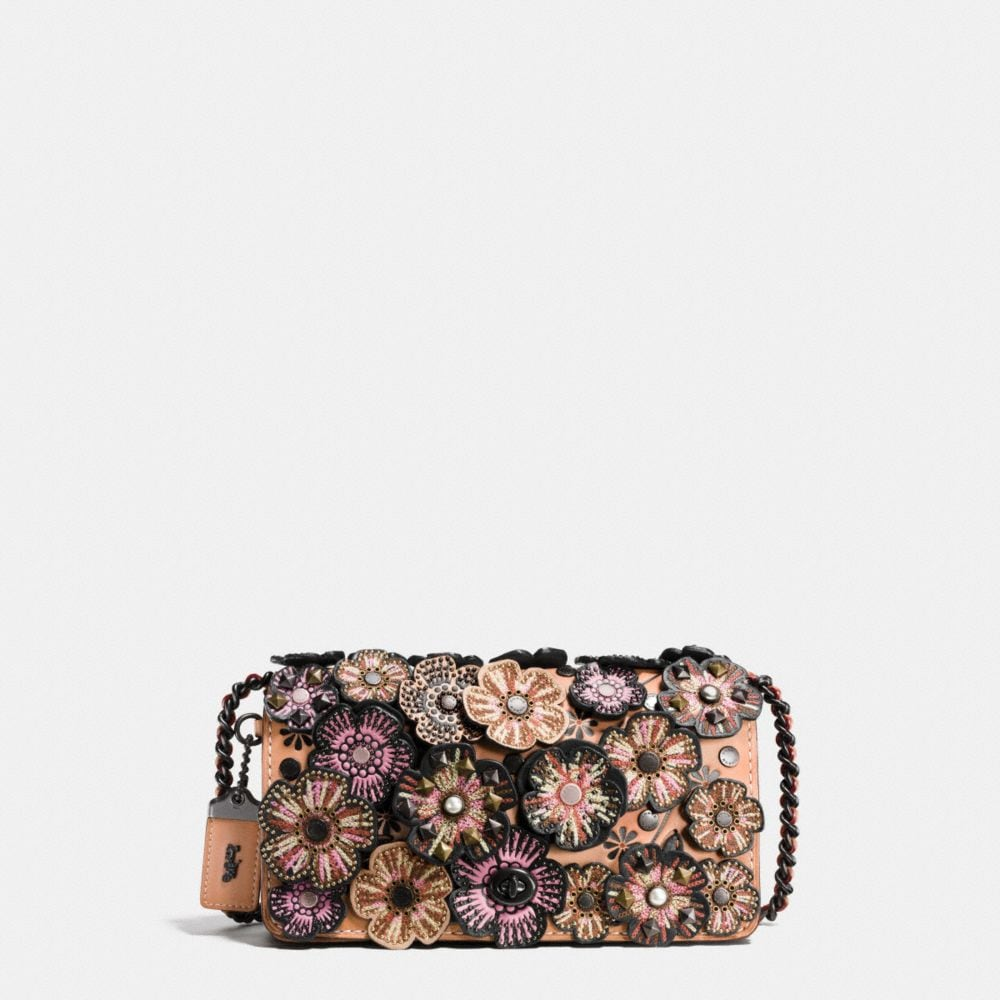 EMBELLISHED TEA ROSE APPLIQUE DINKY CROSSBODY IN GLOVETANNED LEATHER