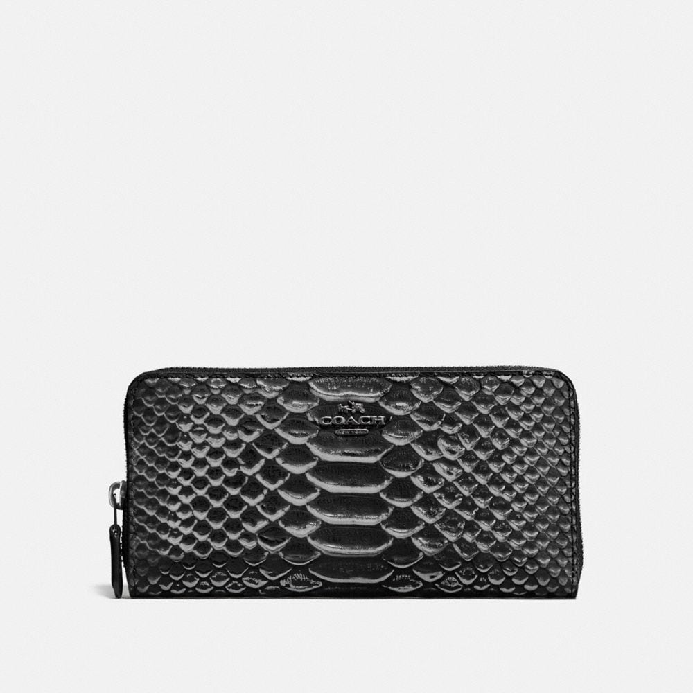 ACCORDION ZIP WALLET IN EXOTIC EMBOSSED LEATHER