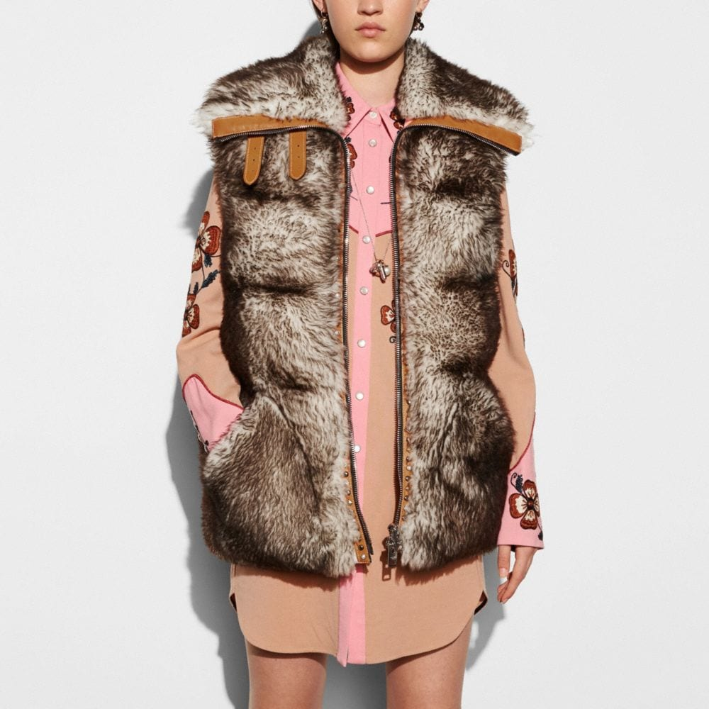 LONG SHEARLING PUFFER VEST