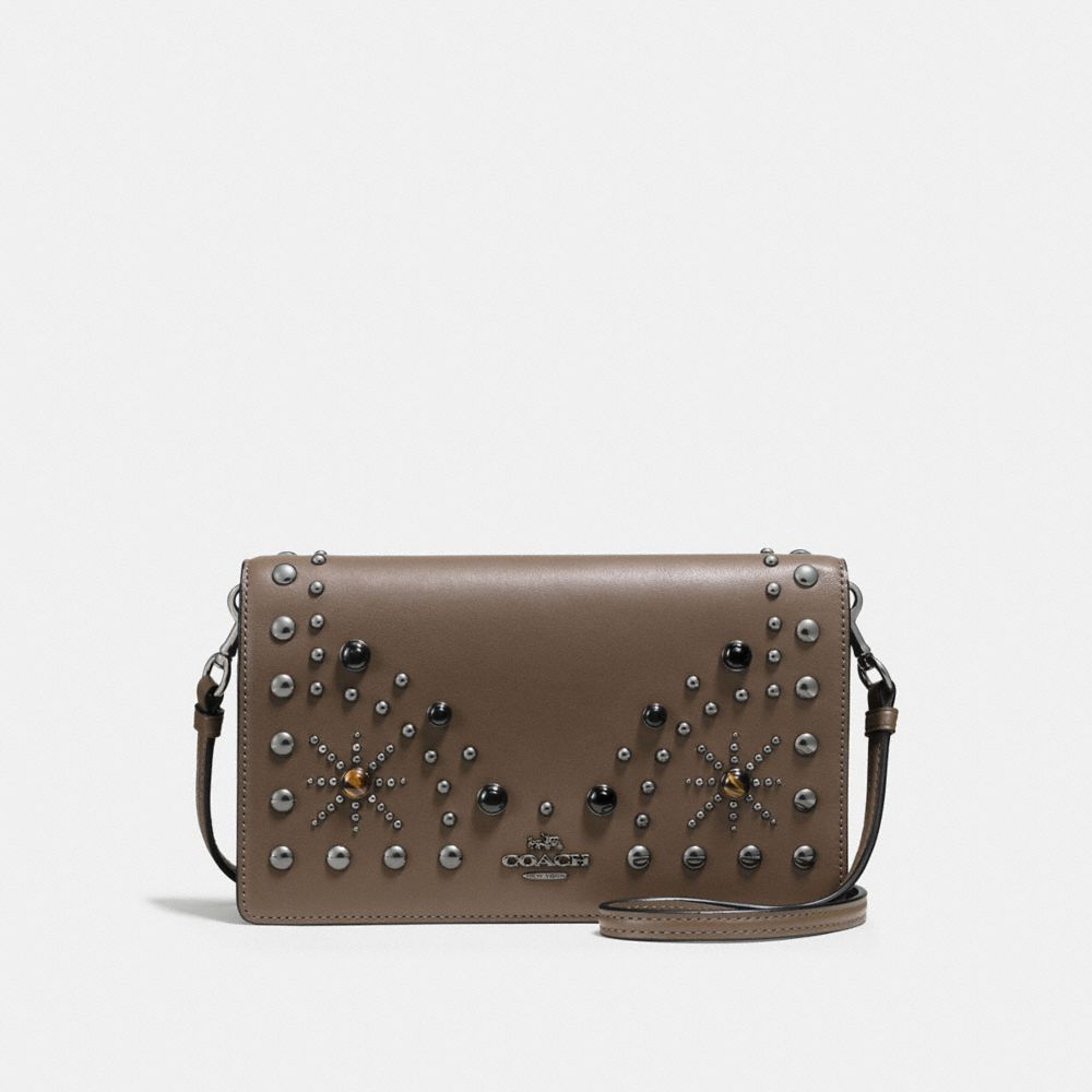WESTERN RIVETS FOLDOVER CROSSBODY CLUTCH IN GLOVETANNED LEATHER
