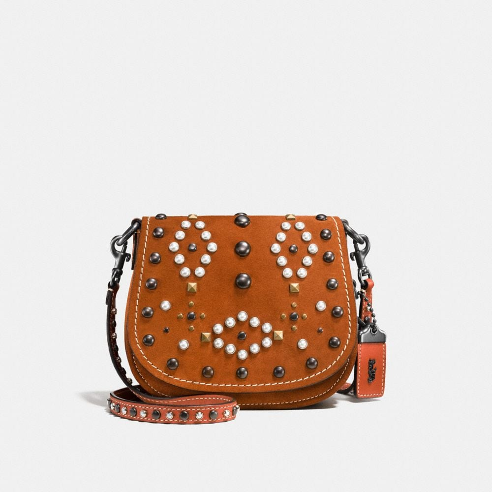 WESTERN RIVETS SADDLE BAG 17 IN SUEDE