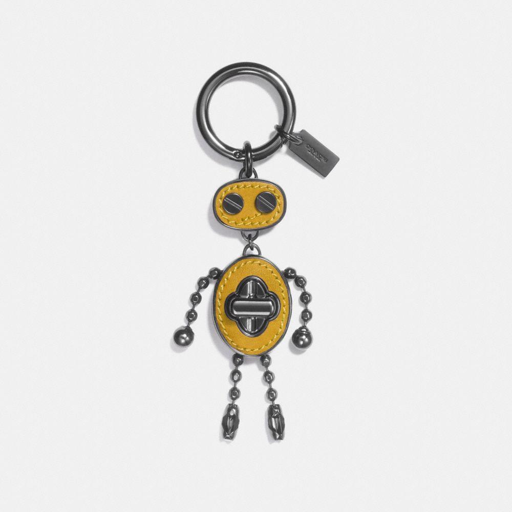 LEATHER INLAY ROBOT BAG CHARM