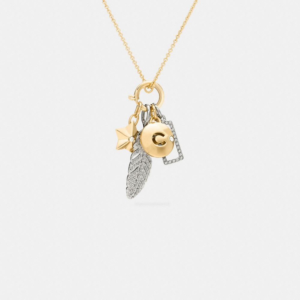 PAVE FEATHER NECKLACE CHARM SET