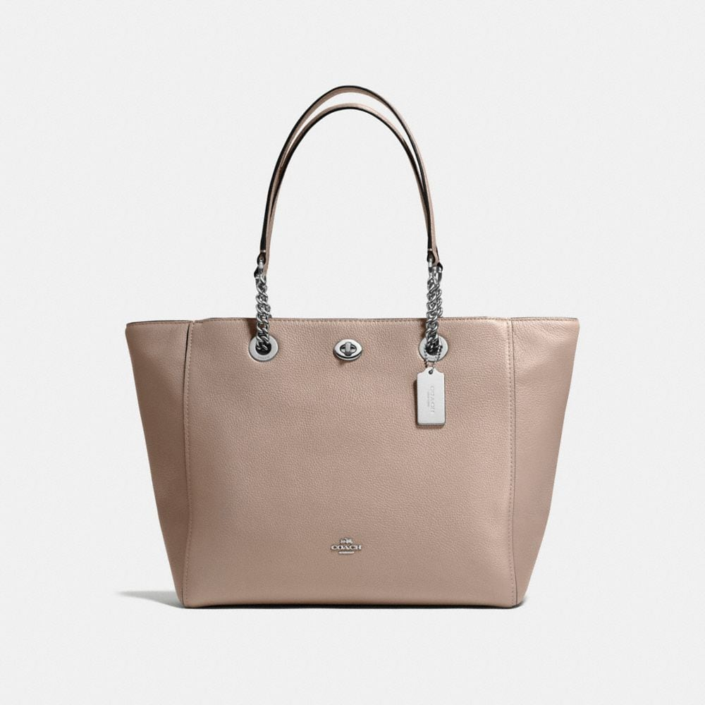 TURNLOCK CHAIN TOTE IN POLISHED PEBBLE LEATHER