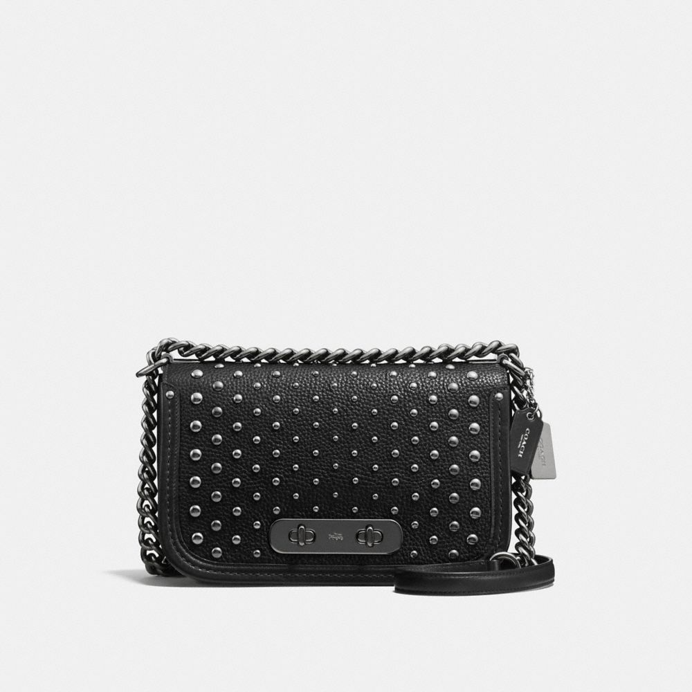 coach crossbody bag outlet u0az  COACH SWAGGER SHOULDER BAG IN PEBBLE LEATHER WITH OMBRE RIVETS