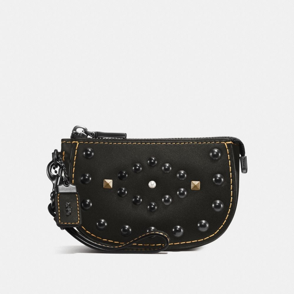 WESTERN RIVETS POUCH IN GLOVETANNED LEATHER
