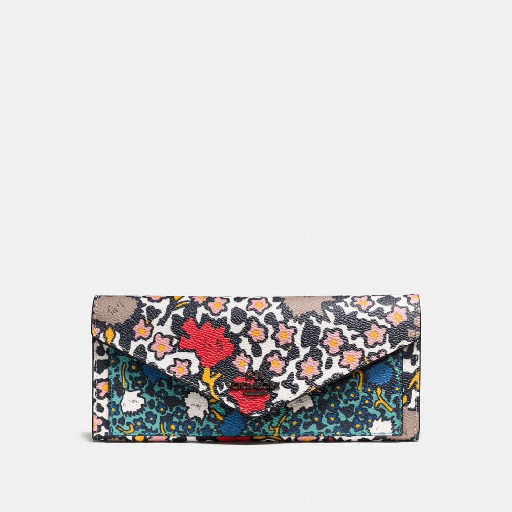 SOFT WALLET IN MIXED YANKEE FLORAL PRINT COATED CANVAS