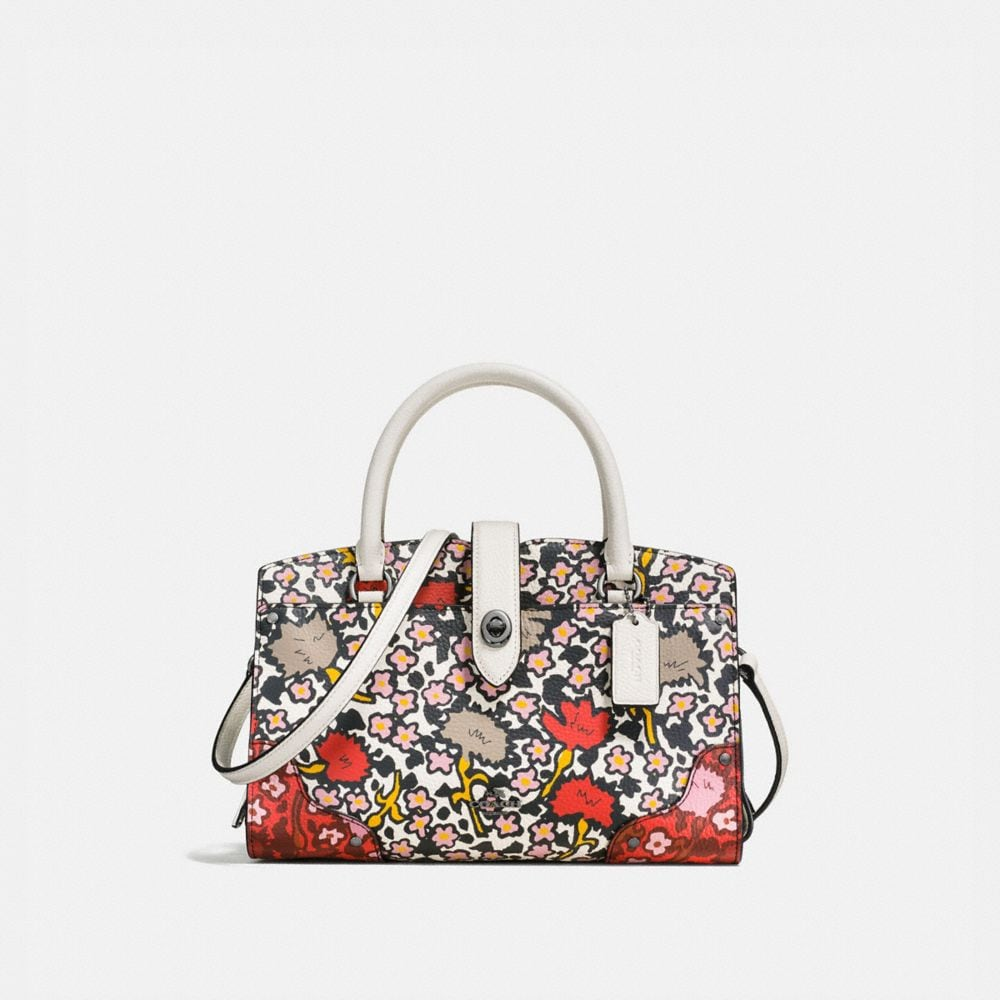 MERCER SATCHEL 24 IN MULTI FLORAL PRINT POLISHED PEBBLE LEATHER