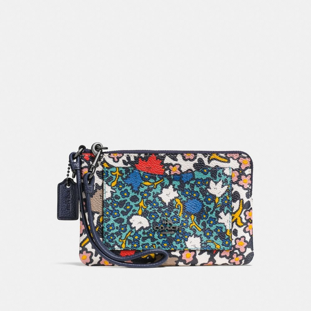 SMALL WRISTLET IN MIXED YANKEE FLORAL PRINT CANVAS
