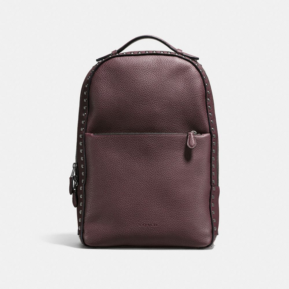 WESTERN RIVETS METROPOLITAN SOFT BACKPACK IN POLISHED PEBBLE LEATHER