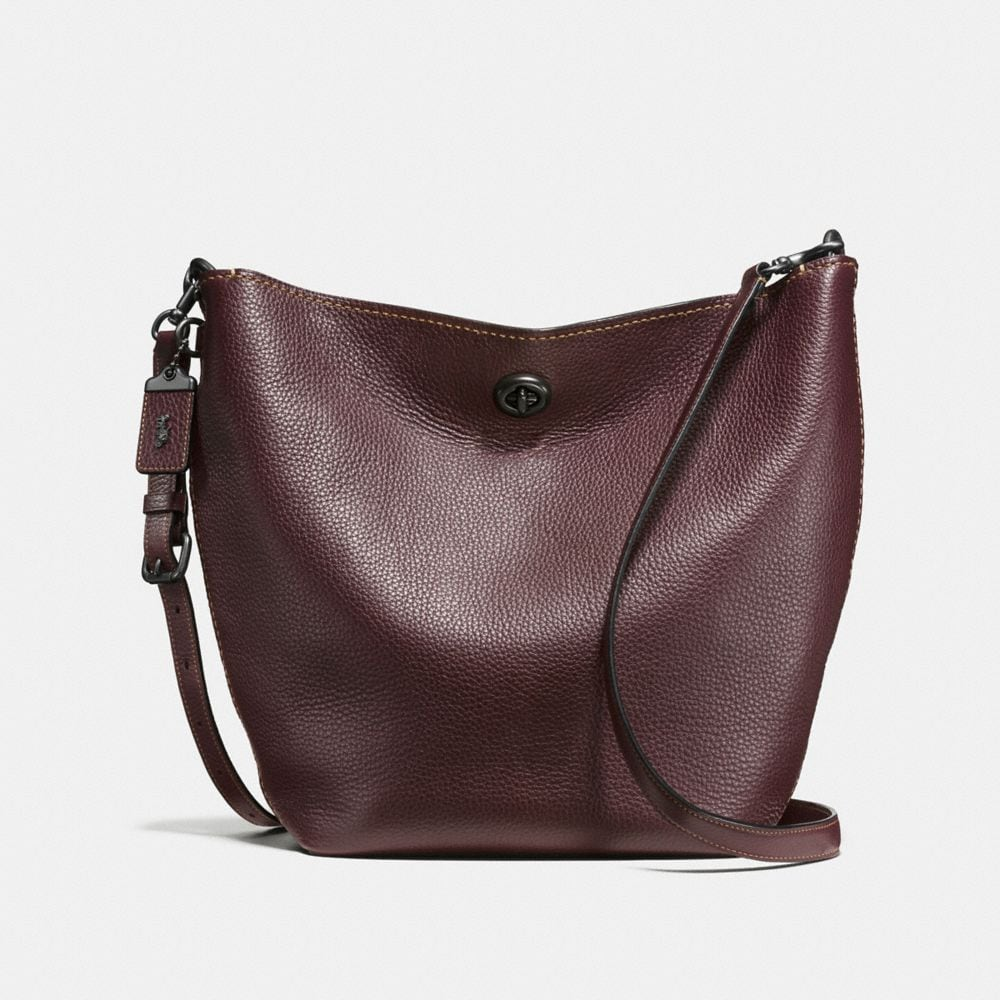 DUFFLE SHOULDER BAG IN GLOVETANNED PEBBLE LEATHER