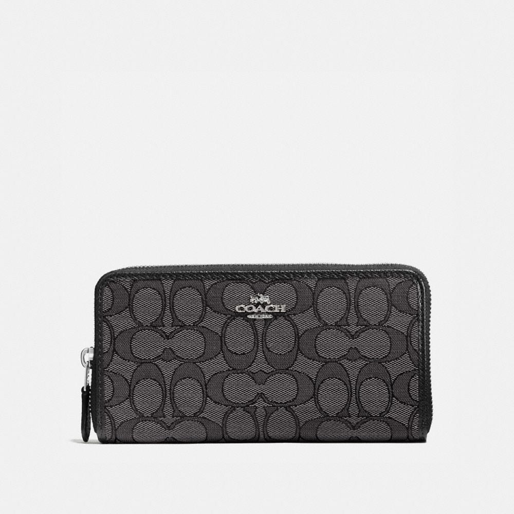 ACCORDION ZIP WALLET IN SIGNATURE JACQUARD