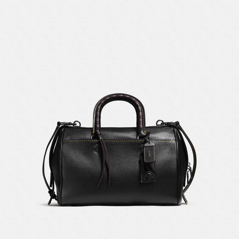 ROGUE SATCHEL IN GLOVETANNED PEBBLE LEATHER WITH EMBELLISHED HANDLE