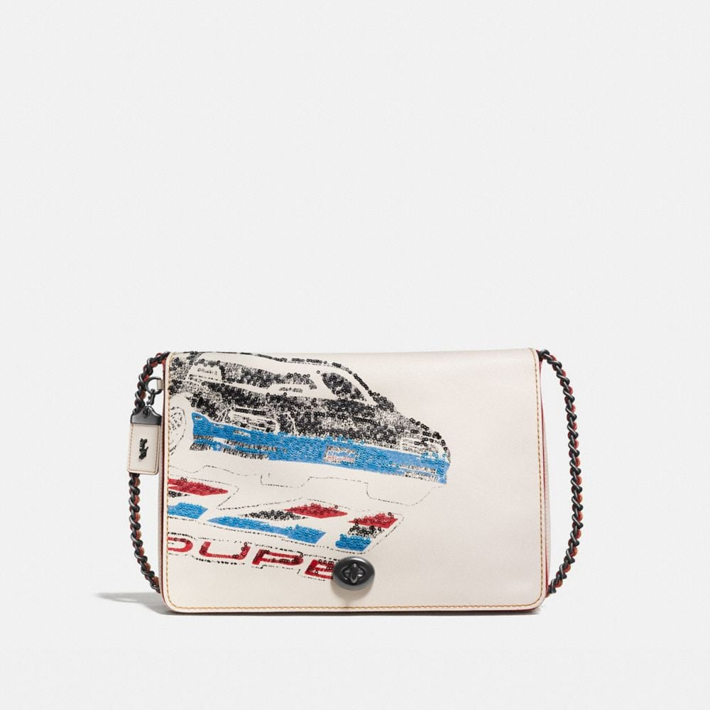 DINKY CROSSBODY 32 IN GLOVETANNED LEATHER WITH CAR EMBELLISHMENT