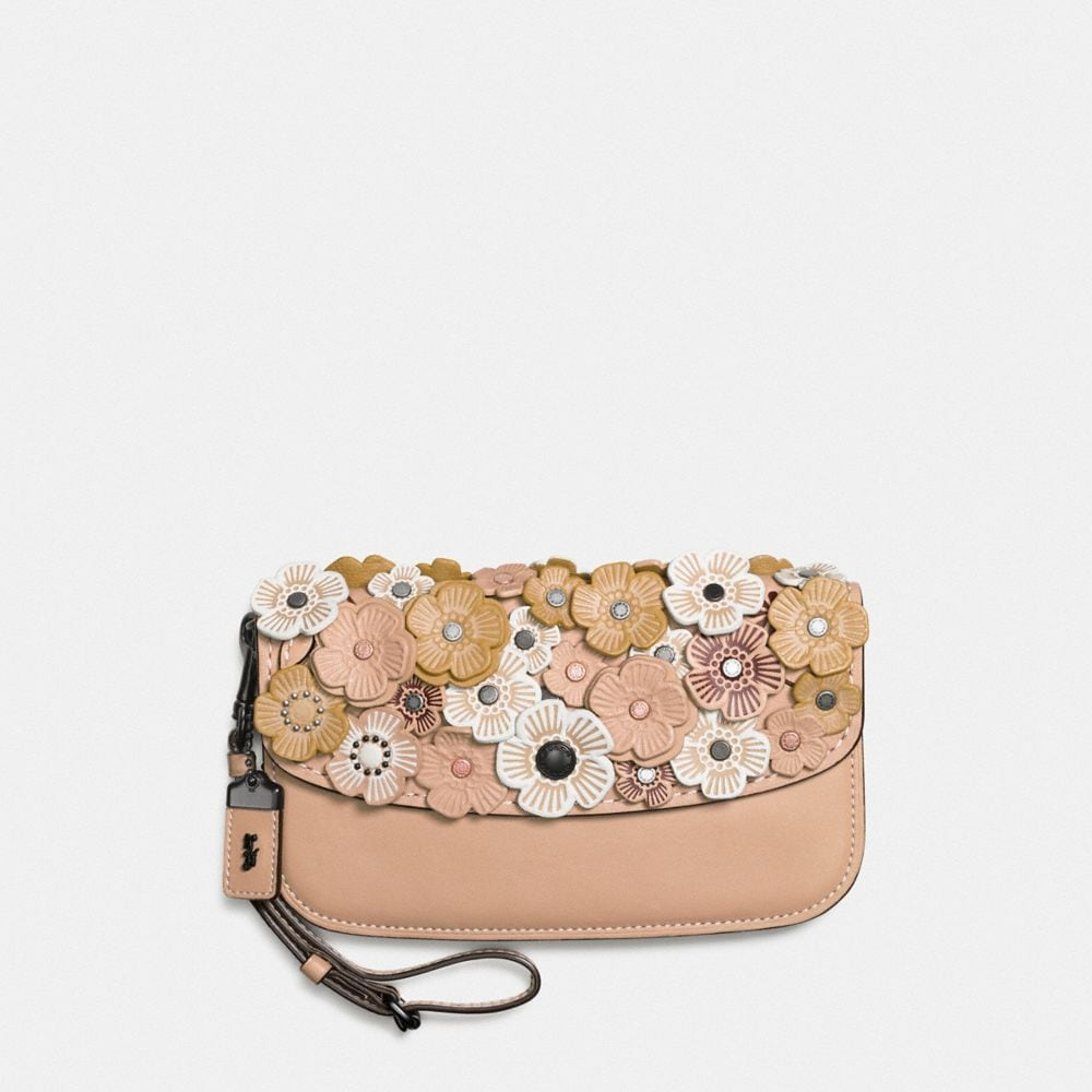 CLUTCH IN GLOVETANNED LEATHER WITH SMALL TEA ROSE