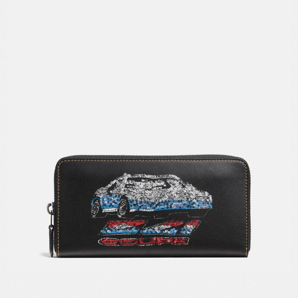 ACCORDION ZIP WALLET IN GLOVETANNED LEATHER WITH CAR EMBELLISHMENT