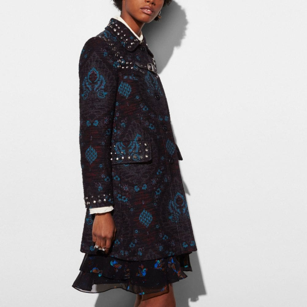 STUDDED TAPESTRY COAT