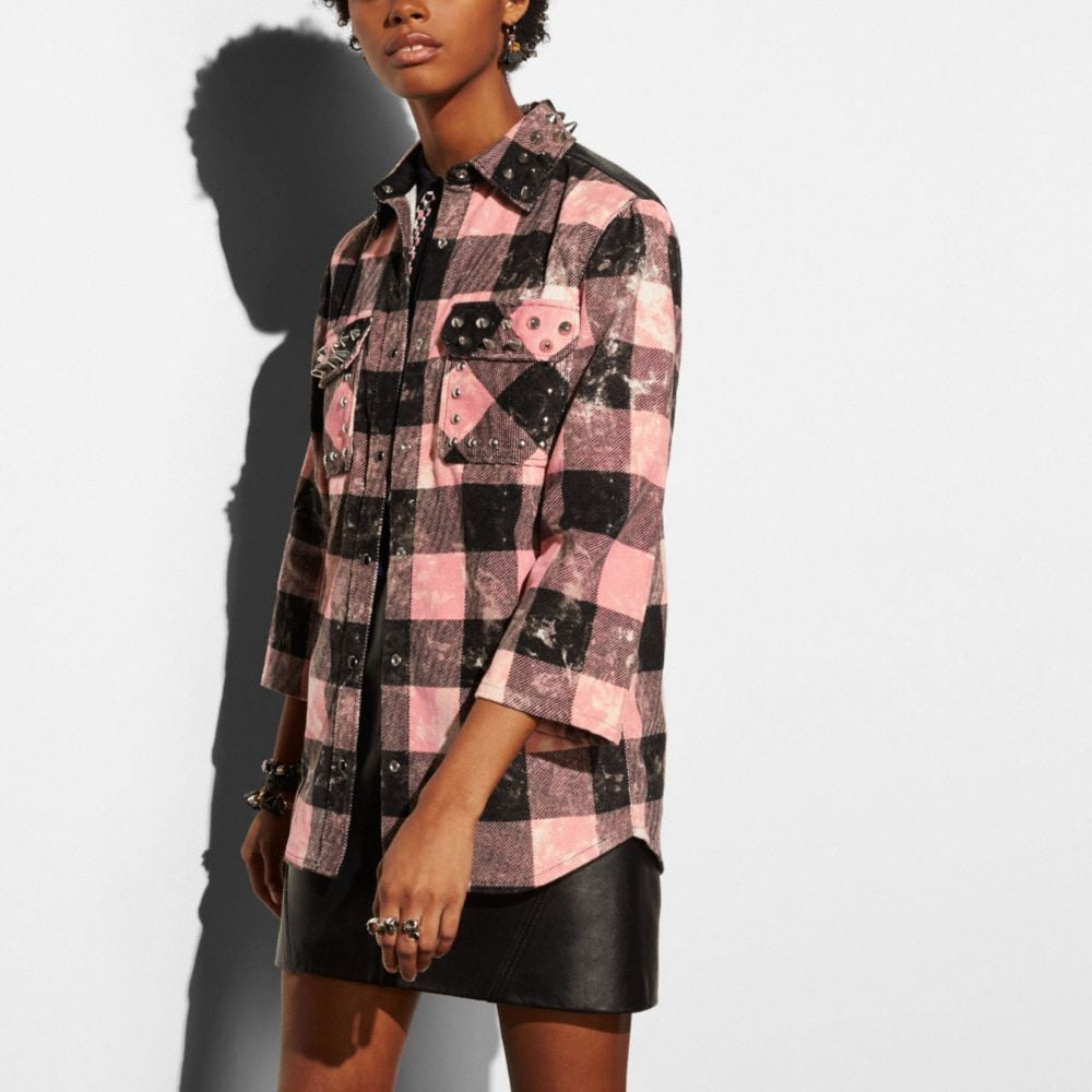 STUD PLAID SHIRT