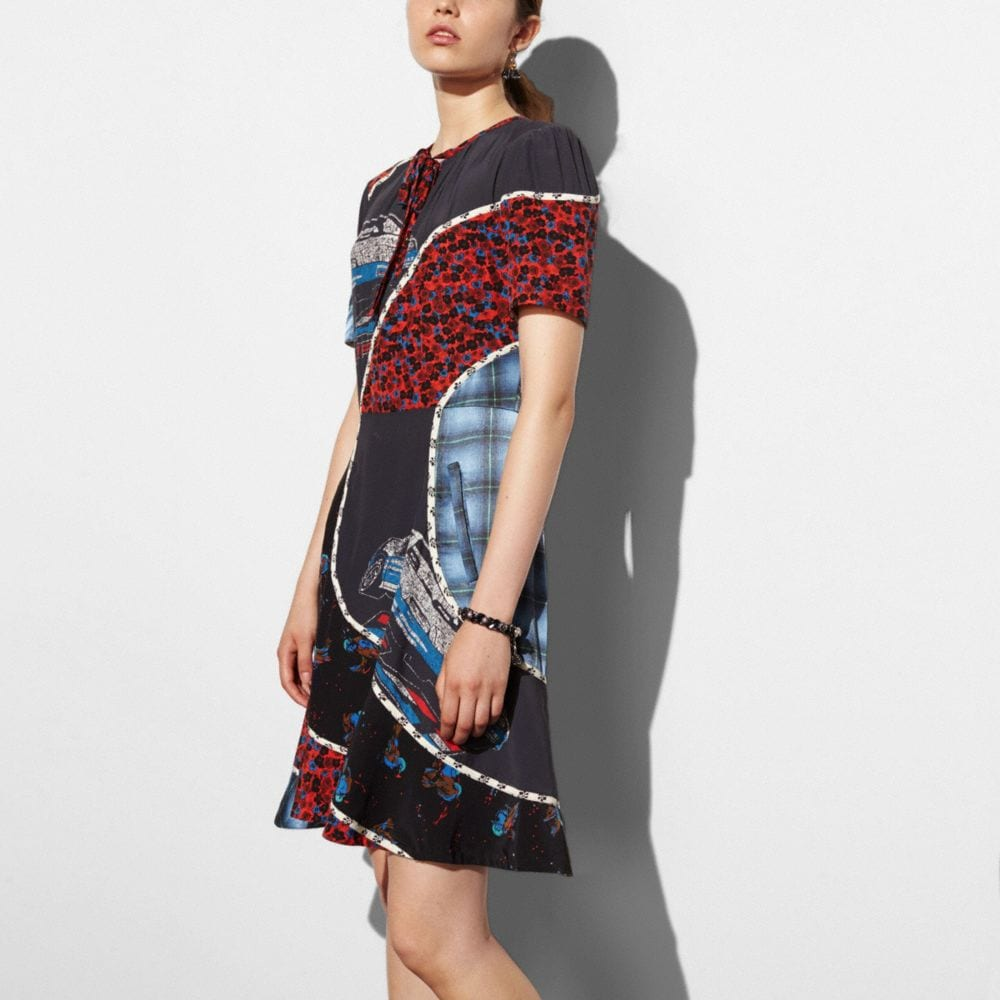 CAR PRINT CIRCULAR PATCHWORK DRESS