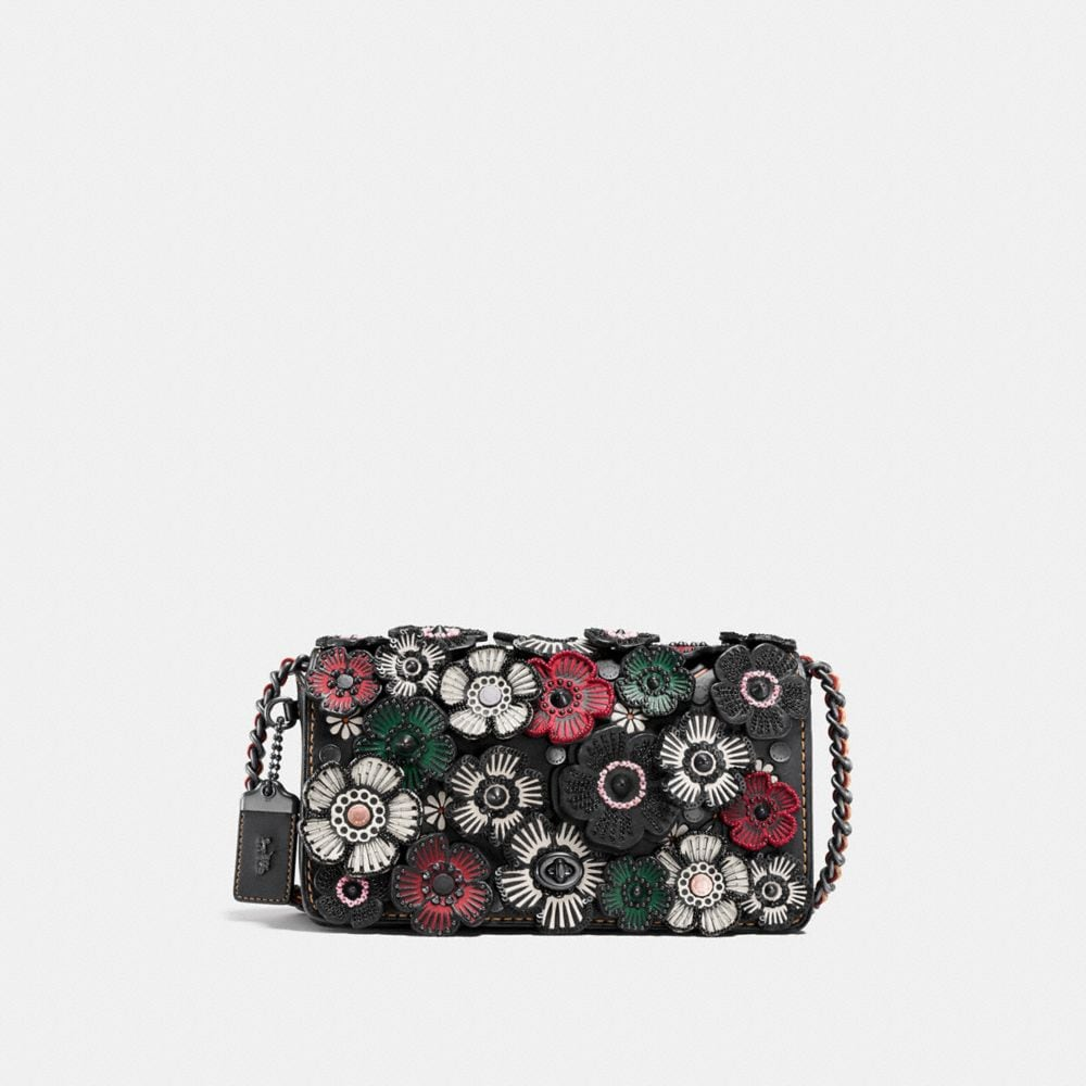 DINKY CROSSBODY IN GLOVETANNED LEATHER WITH EMBELLISHED TEA ROSE APPLIQUE