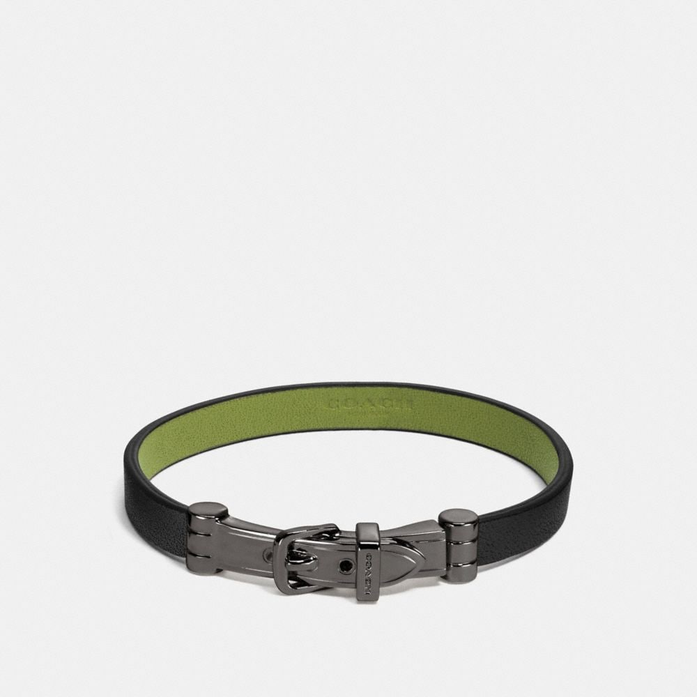 TWO TONE LEATHER BUCKLE BRACELET