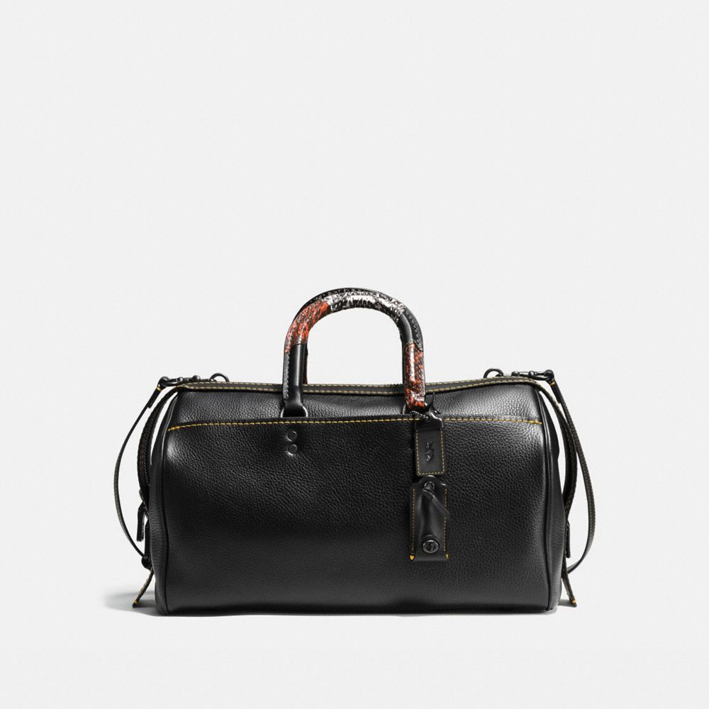 ROGUE SATCHEL 36 IN GLOVETANNED PEBBLE LEATHER WITH PATCHWORK SNAKE HANDLE