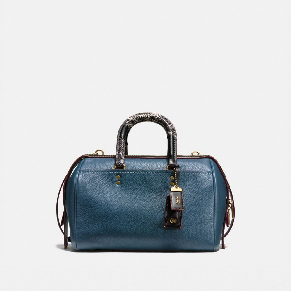 ROGUE SATCHEL IN GLOVETANNED PEBBLE LEATHER WITH PATCHWORK SNAKE HANDLE