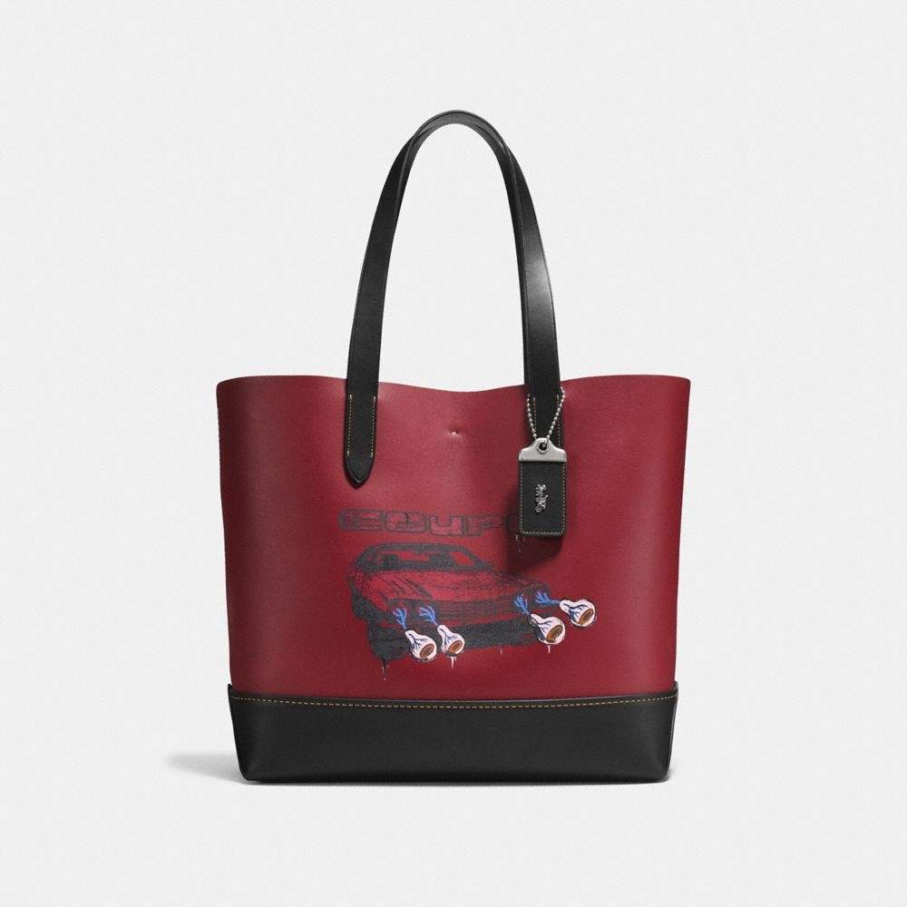 GOTHAM TOTE IN WILD CAR PRINT GLOVETANNED CALF LEATHER
