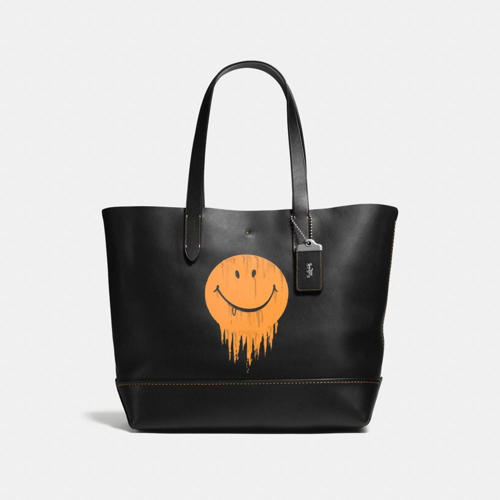 GOTHAM TOTE IN GLOVE CALF LEATHER WITH GNARLY FACE PRINT