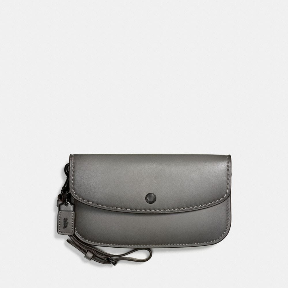 Cross Body Bags - Crossbody Clutch WIth Prairie Rivets Heather Grey/Dark Gunmetal - grey - Cross Body Bags for ladies Coach
