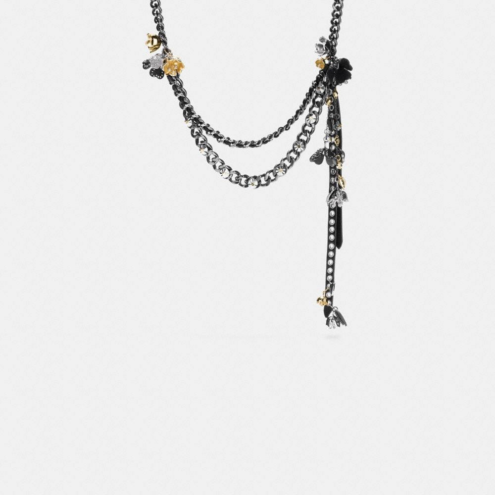 STUDDED TEA ROSE WOVEN CHARM NECKLACE