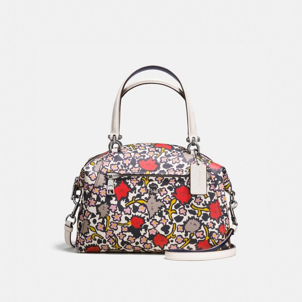 PRAIRIE SATCHEL IN POLISHED PEBBLE LEATHER WITH FLORAL PRINT