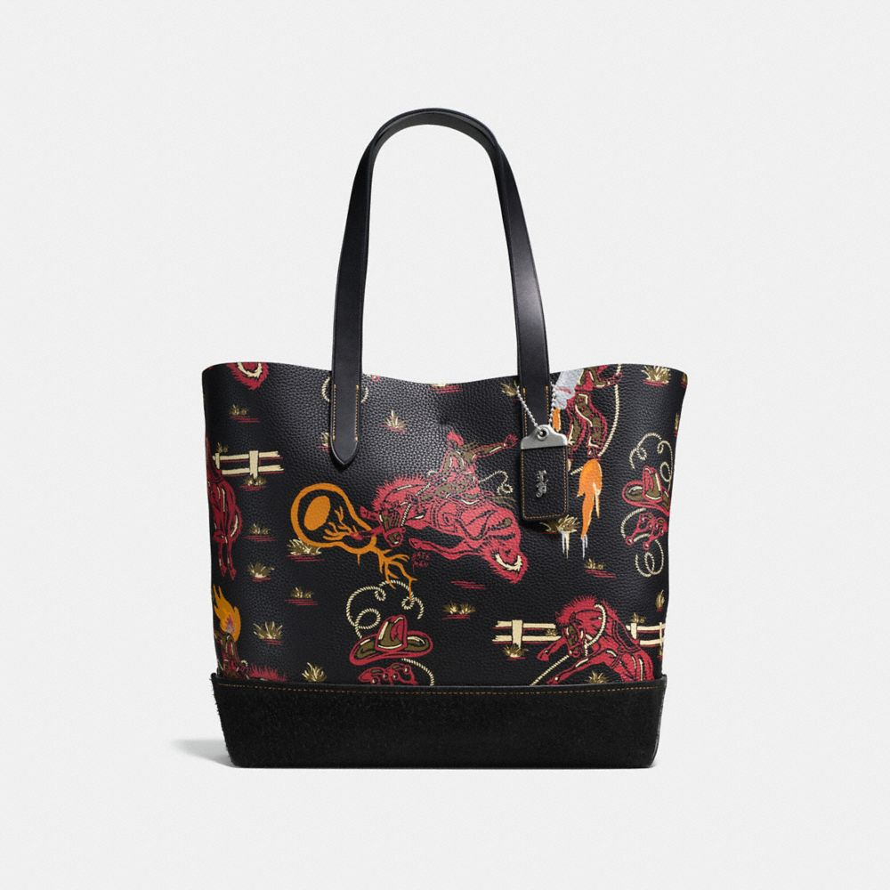 GOTHAM TOTE IN PEBBLE LEATHER WITH WILD WESTERN PRINT