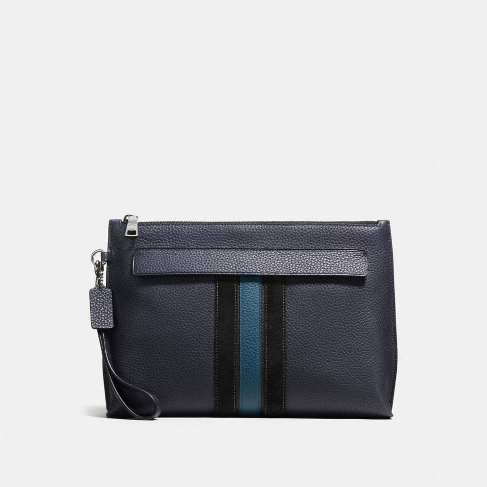 POUCH IN MIXED LEATHER WITH VARSITY STRIPE