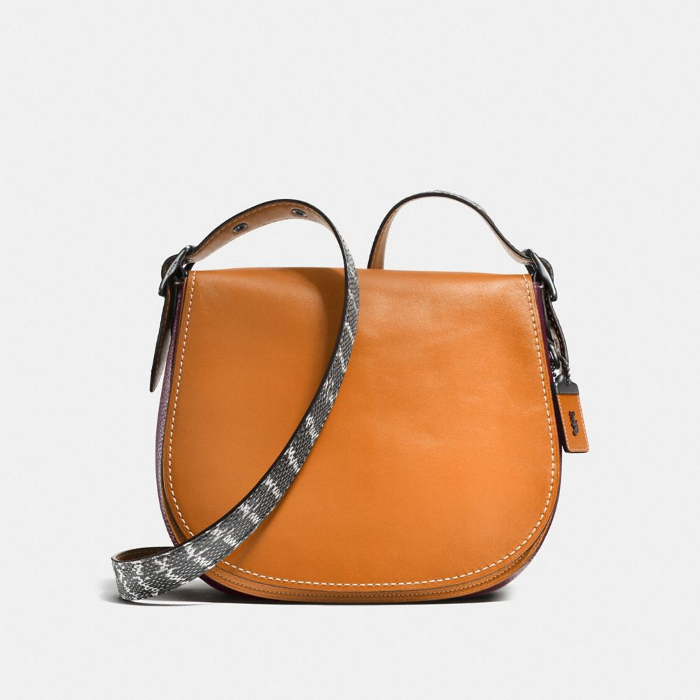 COLORBLOCK SNAKE SADDLE BAG IN GLOVETANNED LEATHER