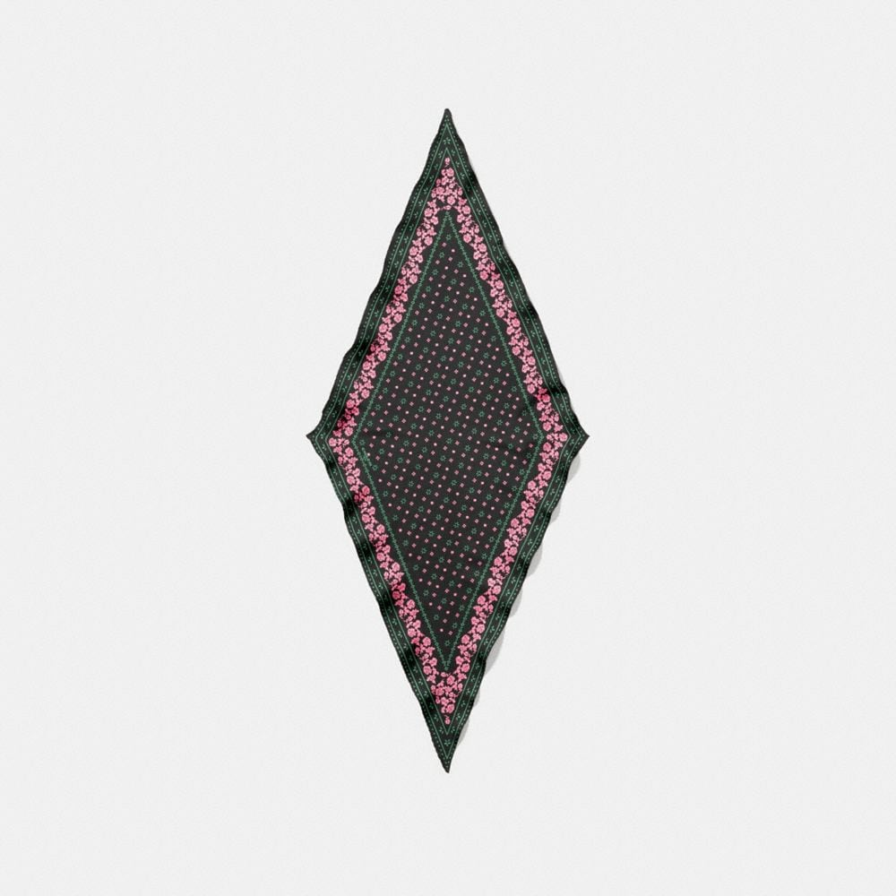 BORDER ROSE BANDANA SILK DIAMOND SCARF