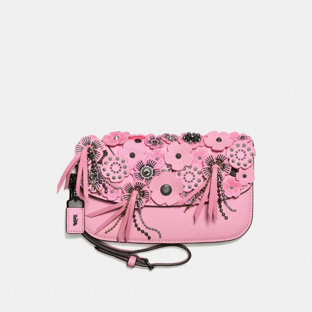 CLUTCH IN GLOVETANNED LEATHER WITH WILD TEA ROSE