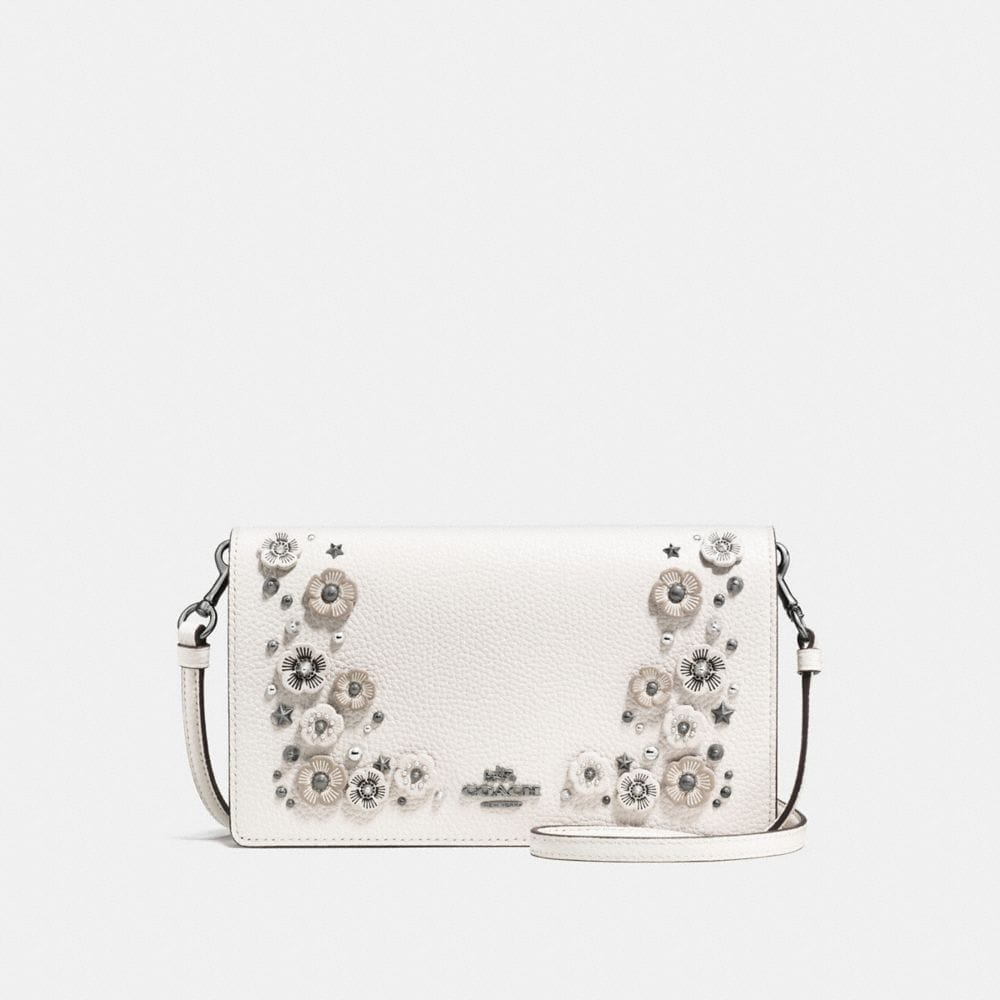 FOLDOVER CROSSBODY CLUTCH WITH WILLOW FLORAL DETAIL
