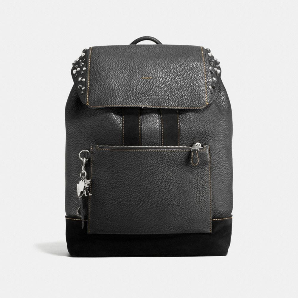 MANHATTAN BACKPACK IN REBEL VARSITY PEBBLE LEATHER WITH STUDS