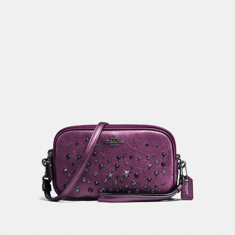 CROSSBODY CLUTCH WITH STAR RIVETS