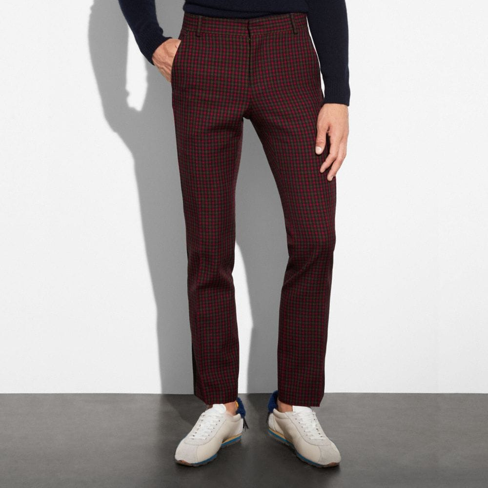 GINGHAM STRAIGHT LEG TROUSERS